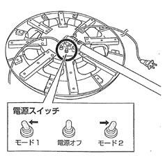 点滅モードは、背面にある「電源スイッチ」で切り替えることができます。