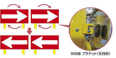 矢印板は大型表示で視認性が高く、大型車輌の衝撃も吸収