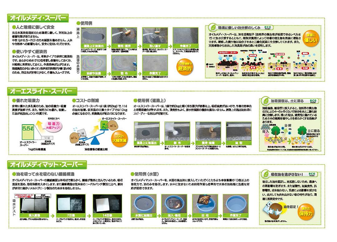 全天候型粒状油吸着材「オーエスライト・スーパー」の製品PDF