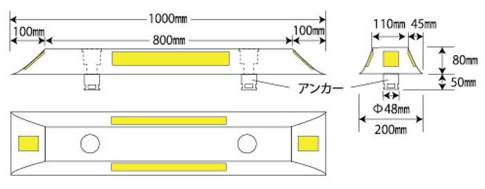 暫定2車線簡易分離中央縁石「ちゅうぶんまる」寸法