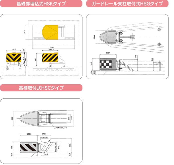 分岐帯用衝撃吸収装置「エイト・ガード」寸法