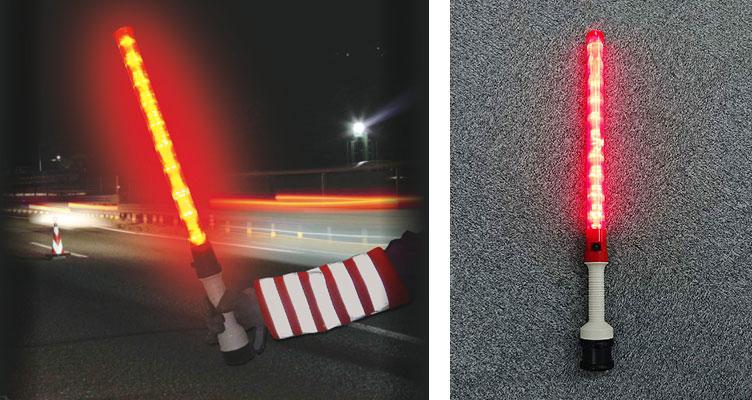 高輝度LED・警報器付き誘導棒 レッドホーンW